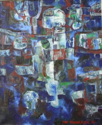 NR 14. Piet Middelhoek , jaar 1981 , Abstract in blauw , 70*85 72*87 olieverf op doek