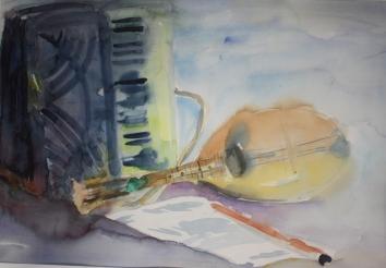 NR 15. Abraham Middelhoek , jaar 1989 , Muziekinstrumenten , 65*45 83*63 aquarel op papier