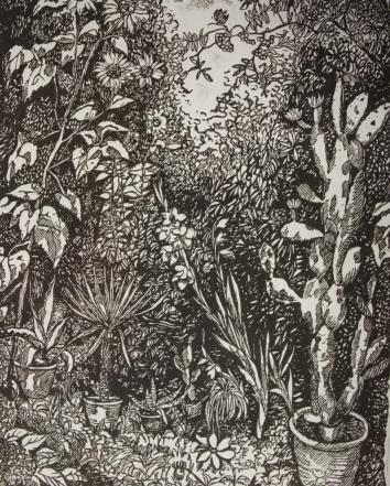 NR 25. Herman Bieling , jaar 1930 , titel De Tuin , 30*40 44*60 houtsnede 9/10